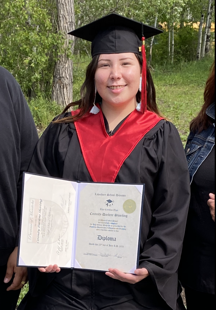 Cerenity Woodhouse graduated from Ashern Central School on June 23, 2021. Cerenity is from Pinaymootang First Nation. She also graduated with 2 awards and she is attending Red River College in September 2021.